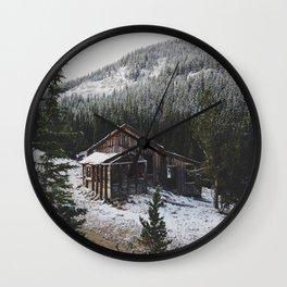 Snowy Cabin Wall Clock