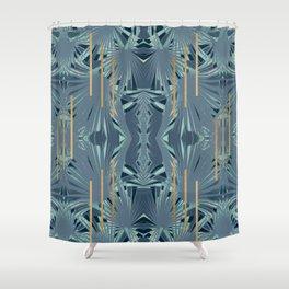 Tropical Art Deco 1.1a Blue, Green, Gold Shower Curtain