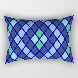 Blue diamonds green grey plaid line chevron Rectangular Pillow