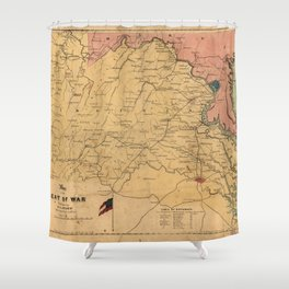 Map of the Seat of War, Virginia & Maryland (1861) Shower Curtain
