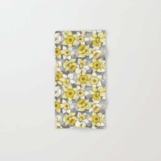 Daffodil Daze - yellow & grey daffodil illustration pattern Hand & Bath Towel