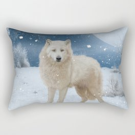 Awesome arctic wolf in the night Rectangular Pillow