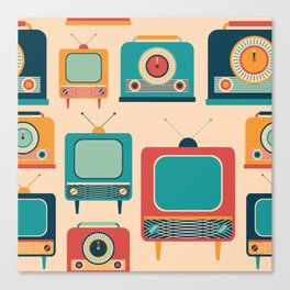 Retro TVs and Radios Canvas Print