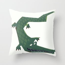 Snapping vintage Alligator Throw Pillow