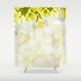 Elm green leaves and blurred space Shower Curtain