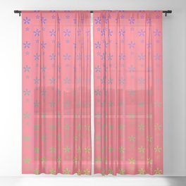 ombre stars large asterisks on red background Sheer Curtain