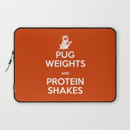 Pug Weights and Protein Shakes Laptop Sleeve