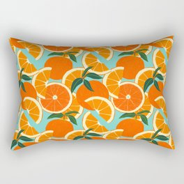 Orange Harvest - Blue Rectangular Pillow