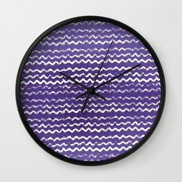 Abstract violet white watercolor geometrical chevron zigzag Wall Clock