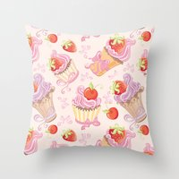 cupcakes Throw Pillows featuring Cupcakes by Julscela