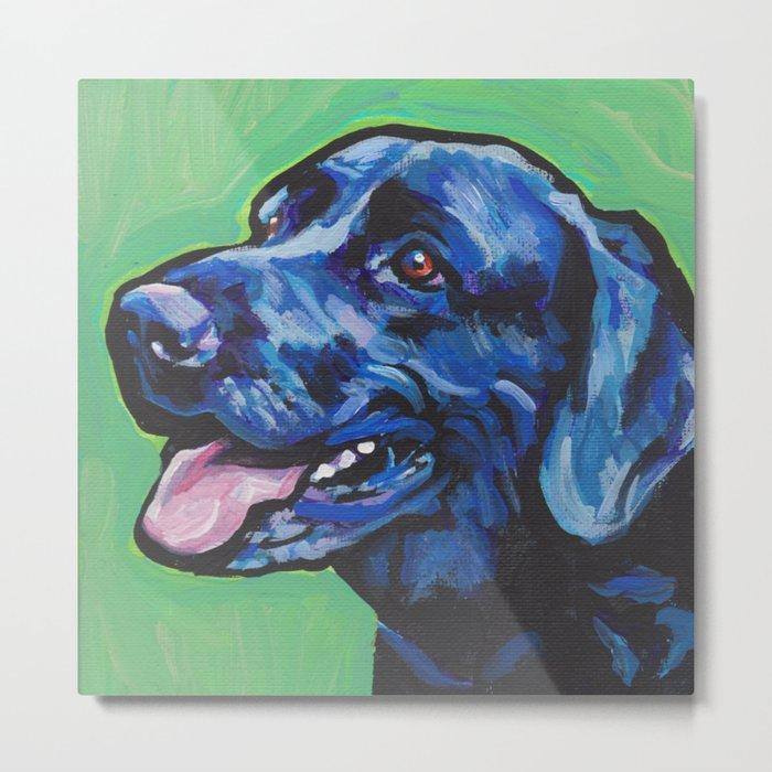 Black Lab Labrador Retriever Fun Dog bright colorful Pop Art Painting by LEA Metal Print