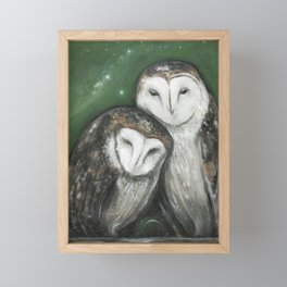 Soul Mates (Barn Owls) Framed Mini Art Print