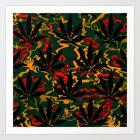 rasta Art Prints featuring Rasta Leaves... by Cherie DeBevoise