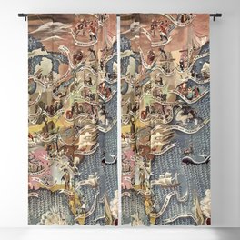 History of America Pictorial State map of Historical Events landscape painting by Aaron Bohrod Blackout Curtain