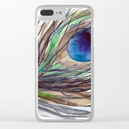 Peacock piece || watercolor Clear iPhone Case