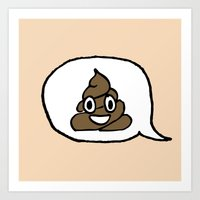 Hand-drawn Emoji - Smiling Pile of Poo Art Print