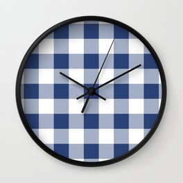 Navy Gingham Pattern Wall Clock
