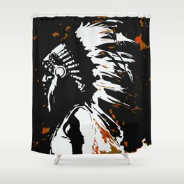 "Native American Indian ""Fearless in Flames"" Shower Curtain"
