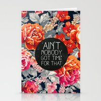 kurt cobain Stationery Cards featuring Ain't Nobody Got Time For That by Sara Eshak