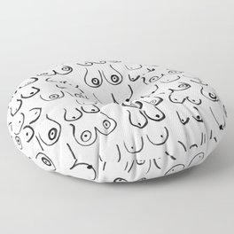 Boobs Pattern - black and white line drawing, life drawing, feminine art Floor Pillow