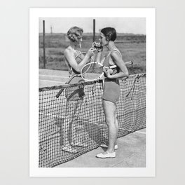 Tennis Players Taking a Cigarette Break, Black and White Vintage Art Art Print