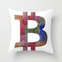 Bitcoin Multicolor hand-drawn watercolor pattern Throw Pillow