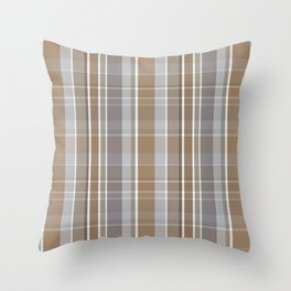 Winter, Plaid, Brown and Grey Throw Pillow