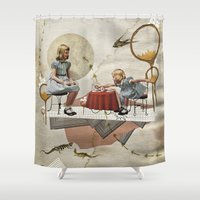 tea Shower Curtains featuring tea time by Heather Landis