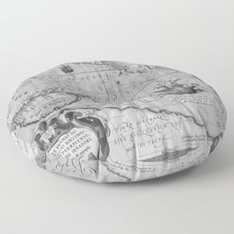 Old World Map print from 1589 Floor Pillow