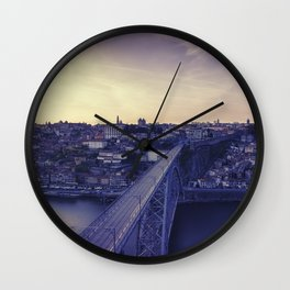 Porto across the bridge. Wall Clock