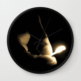 Photograph Sepia Tone Hand and Fingers with Lit Fire Match Wall Clock