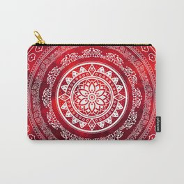 'Scarlet Destiny' Red & White Flower Of Life Boho Mandala Design Carry-All Pouch
