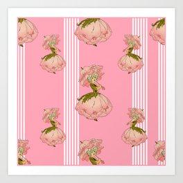 Parasol Pink Vintage Art Print