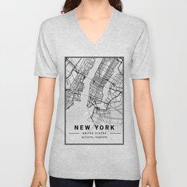 New York Light City Map Unisex V-Neck