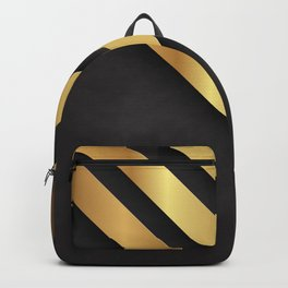 Back and gold geometric design Backpack