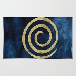 Infinity Navy Blue And Gold Abstract Modern Art Painting Rug