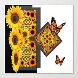 GOLD SUNFLOWERS & MONARCH BUTTERFLIES ART DECO Canvas Print