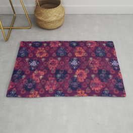 Lotus flower - fire on mulberry woodblock print style pattern Rug