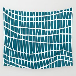 Net White on Blue Wall Tapestry