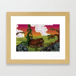 Jack and the Beanstalk Cottage in the evening Framed Art Print