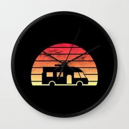 Modern Motorhome Silhouette at Sunset Wall Clock
