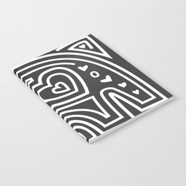 Mola Elephant (Black and White) Notebook