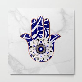 Talk to the Evil Eye Hamsa Hand Metal Print