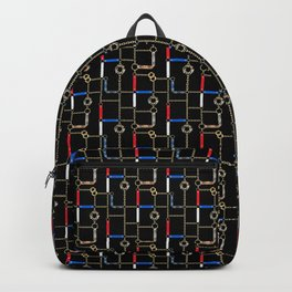 Gold chains, straps on black. Backpack