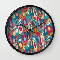 psychedelic Wall Clocks featuring Psychedelic by Helene Michau
