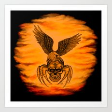 Spider Skull and Eagle in Tattoo Style , Black Red Yellow design Art Print