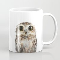 painting Mugs featuring Little Owl by Amy Hamilton