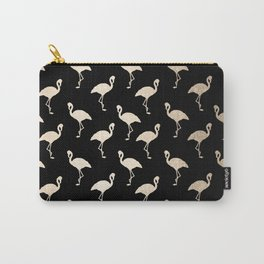 Flamingo Pattern Gold + Black Carry-All Pouch