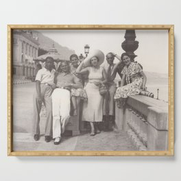 Vintage holiday photo in Cannes France Serving Tray