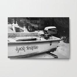 Motor Boat Skiff Dingy Fishing Fisherman Drifter Funny Art Northwest Black White Print Metal Print